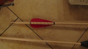 Completed tied Fletching