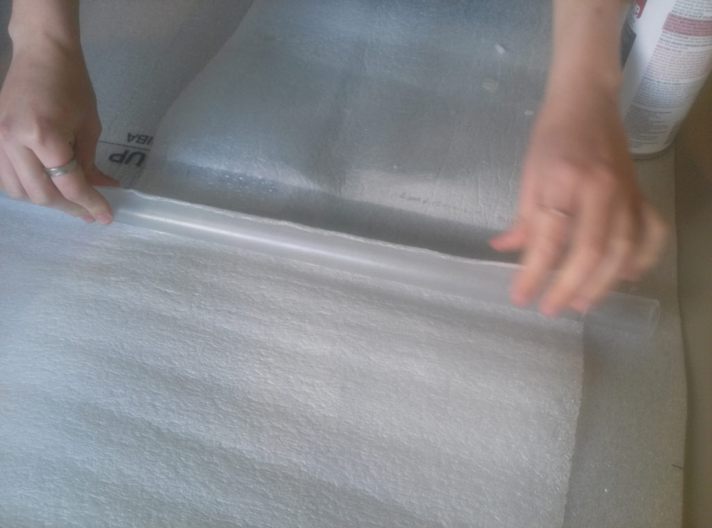 Step 5: Rolling the blade into the foam. This should create at least 3 layers